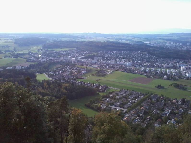 View of Bern from the top of a viewing area in Gurten