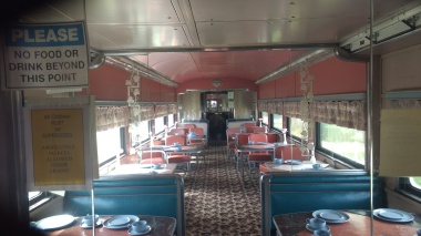 Inside an old dining car replica